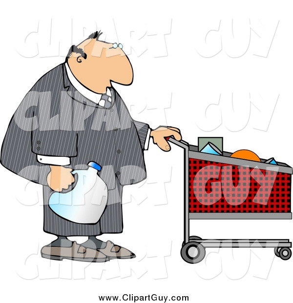 Clip Art of a White Businessman Pushing a Shopping Cart in a Grocery Store