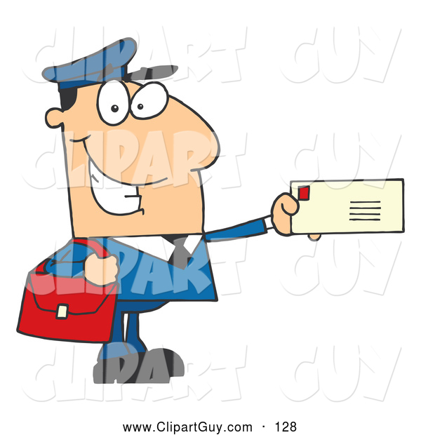 Clip Art of AFriendly Mail Man Holding a Letter
