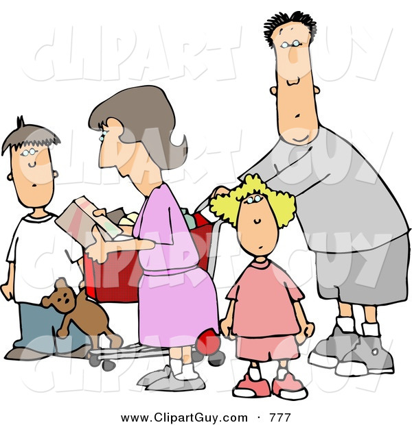Clip Art of an Average Family Grocery Shopping Together