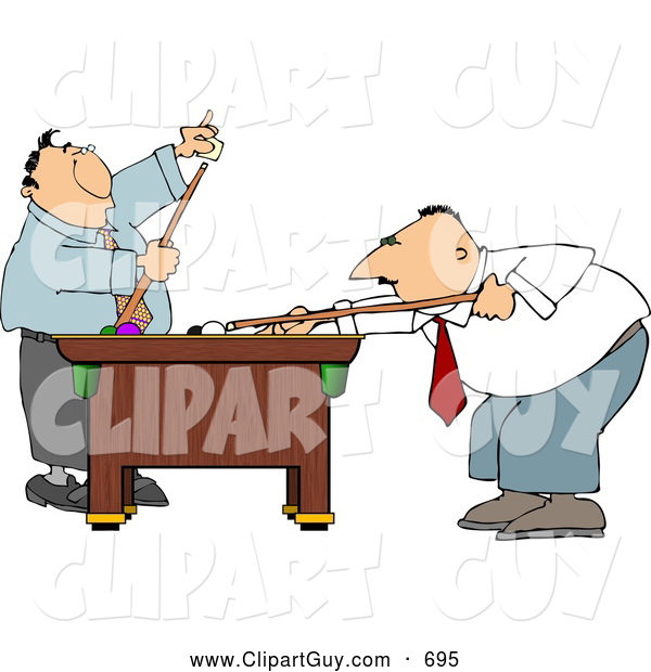 Clip Art of APair of Men Playing a Game of Pool in Their Business Suits