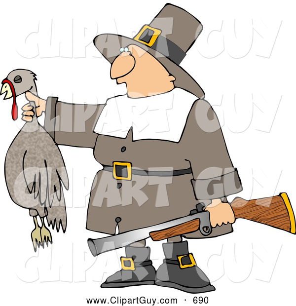 Clip Art of ASuccessful White Male Pilgrim Hunter Holding a Dead Turkey and a Gun - Thanksgiving Holiday