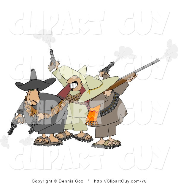 Clip Art of Banditos Shooting Pistols and Rifles into the Air