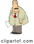 Clip Art of a Caucasian Obese Businessman Holding a Document in His Hand by Djart