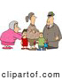 Clip Art of a Doting Grandma and Grandpa Standing with Grandchildren and Pregnant Daughter by Djart