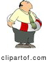 Clip Art of a Worried White Businessman Wearing a Life Preserver Float Tube Around His Waist by Djart