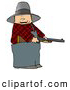 Clip Art of ACaucasian Farmer with a Shotgun by Djart
