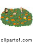 Clip Art of AFamily of Five Looking for That Perfect Halloween Pumpkin in a Farmer by Djart
