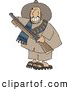 Clip Art of AGrinning Male Mexican Bandit Carrying a Loaded Shotgun by Djart