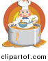 Clip Art of AMessy Chef Eating Food Inside His Pot by Prawny