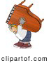 Clip Art of AStraining Strong Man Moving a Heavy Grand Piano by Djart