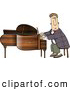 Clip Art of ATalented Professional Pianist Playing Grand Piano by Djart