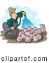 Clip Art of AWhite Farmer Watering His Pigs with Fertilizer - Livestock Concept by Djart