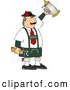 Clip Art of AWhite Man Celebrating Oktoberfest with a Beer Stein and Hot Dogs by Djart