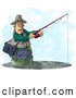 Clip Art of AWhite Man Fishing in a Lake with a Standard Rod and Reel Fishing Pole by Djart